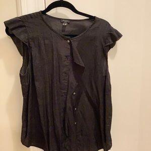 Black flutter sleeve button down blouse
